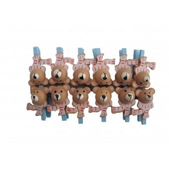 Klemmer, mini - lyseblå Bamser