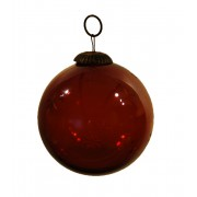 Julekugle - glas - rødbrun