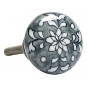 Håndtag/greb, Porcelæn m. gråt blomstermønster