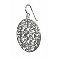 Øreringe i sølv - Mandala, Rund