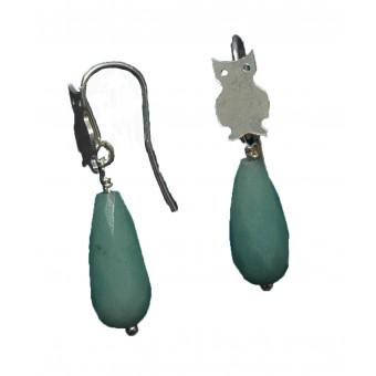 Øreringe i sølv - Amazonit, ugleøreringe