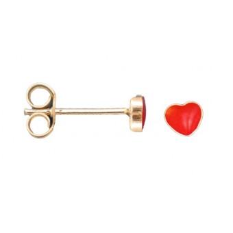 Ørestikker i sølv - rødt hjerte