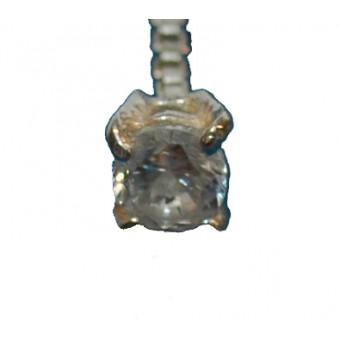 Øreringe i sølv - lang kæde med klar zirkon