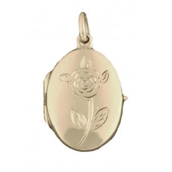 Medaljon - Oval  - rose på forsiden - blank bagside - 2 billeder