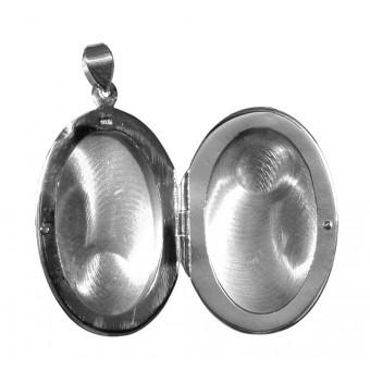 Medaljon - Oval - blank begge sider - 2 billeder